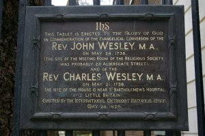 Tablet commemorating the conversions of John and Charles Wesley