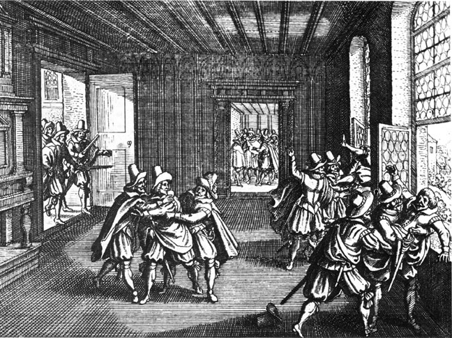 Catholics being defenestered, Prague, 1618