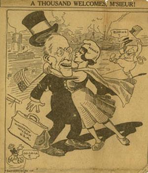 Cartoon: Wilson's Arrival in France