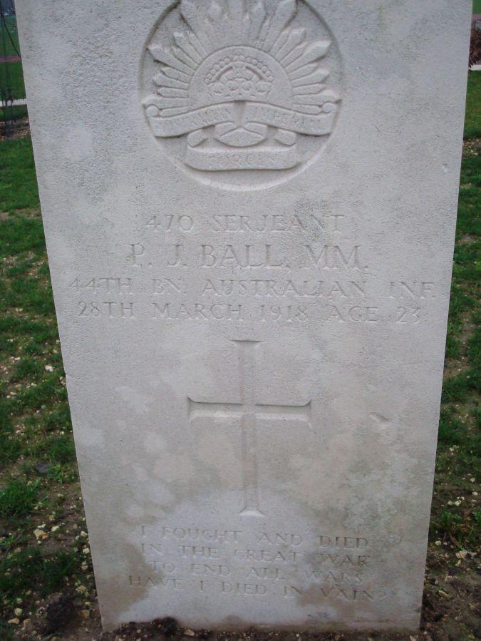 Australian Gravestone at Villers-Brettoneux