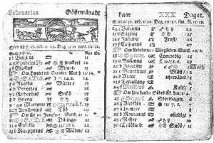 Swedish calendar for February 1712