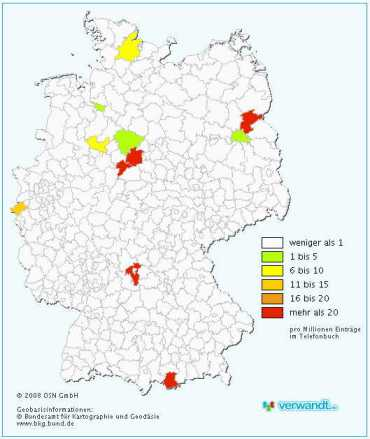 Distribution of Gehrzes in Germany today