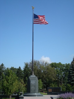 The flagpole at the turn in Victory Memorial Drive