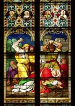 Stained glass image of the stoning of St. Stephen