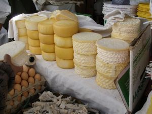 Cheese at a market in Peru