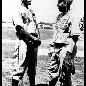 Satchel Paige and Jackie Robinson in 1945