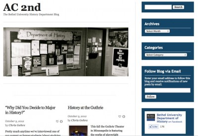 Screenshot of the AC 2nd Blog, 10/8/12