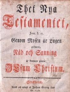 Swedish New Testament, 1778