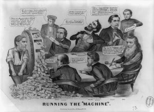 1864 cartoon ridiculing Lincoln and his cabinet