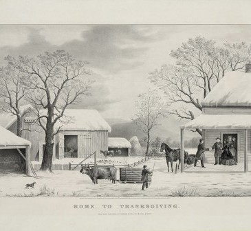 """Currier and Ives, """"Home to Thanksgiving"""""""