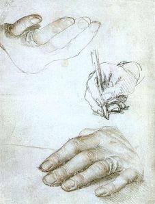 Erasmus' hands by Holbein