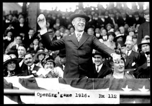 Woodrow Wilson throwing out the first pitch of the 1916 season