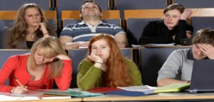 Bored students at a lecture