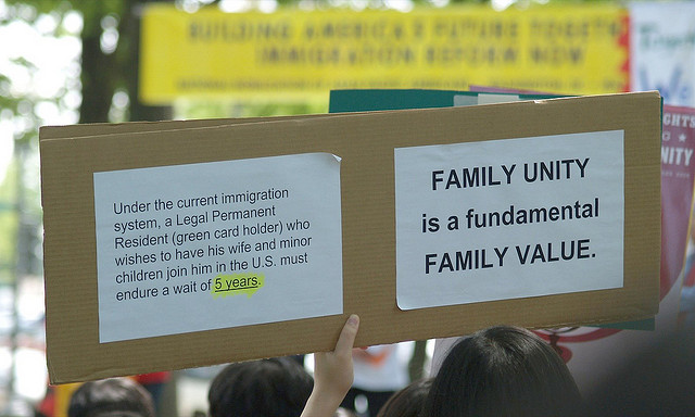"""""""Family unity is a fundamental family value"""" (2007 immigration rally)"""