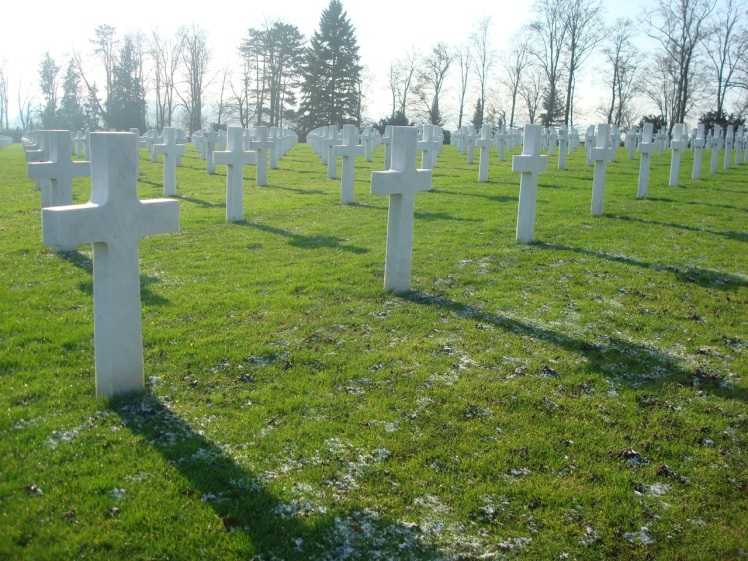 Ranks of crosses at the Oise-Aisne American Military Cemetery