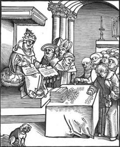 Cranach image of the pope selling indulgences