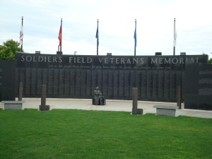The central wall of Rochester's Soldiers Field Veterans Memorial