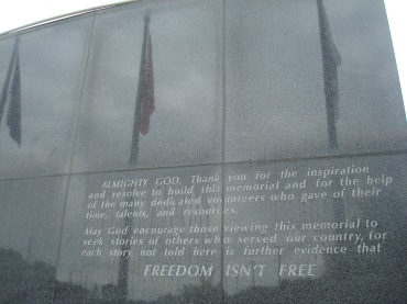 Dedication tablet at Rochester (MN) Soldiers Field Veterans Memorial