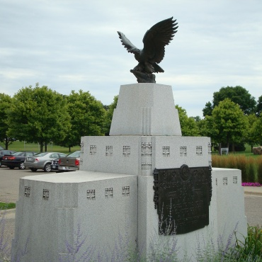 Eagle sculpture at entrance to Rochester's Soldiers Field