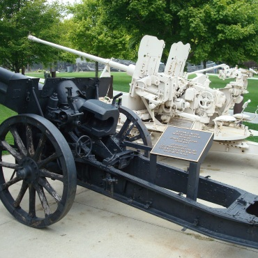 Captured artillery pieces at the Rochester (MN) Soldiers Field Veterans Memorial