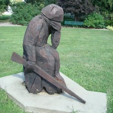 Grieving soldier statue at Wabasha (MN) Veteran's Memorial