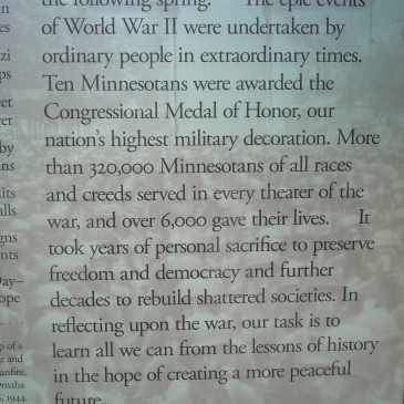 Concluding panel from the MN WWII Memorial in St. Paul