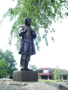 Roger Williams statue at Roger Williams University