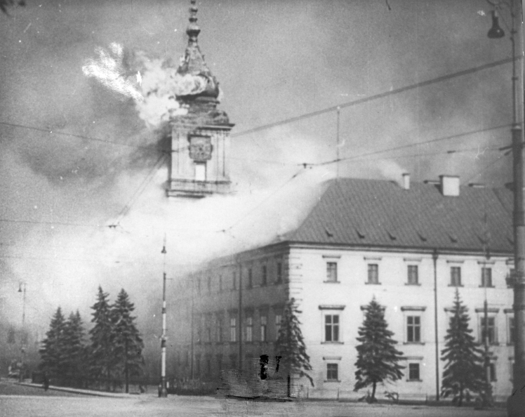 The Royal Castle in Warsaw afire in Sept. 1939