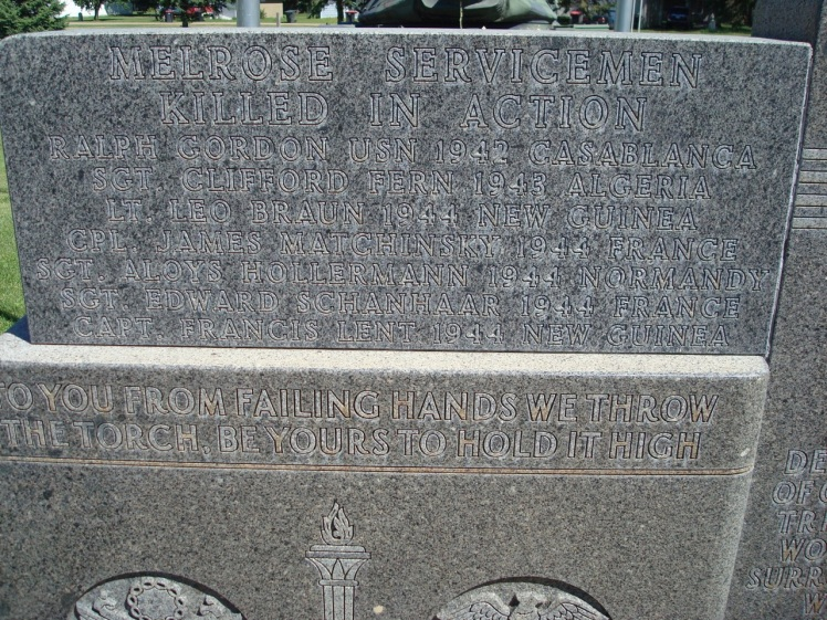 """""""In Flanders FIelds"""" quotation on Melrose (MN) Memorial"""