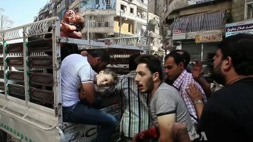 Wounded civilians in Aleppo, Oct. 2012