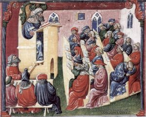 14th century lecture, as painted by Laurentius de Voltolina