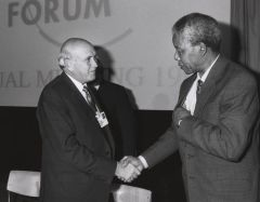 Mandela and de Klerk in 1992 at the World Economic Forum