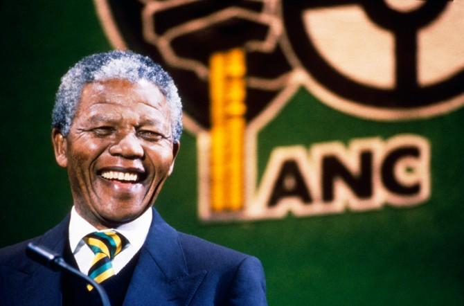 Nelson Mandela at Wembley Stadium in 1990