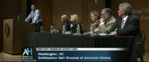 """Screen capture of C-SPAN panel on """"Historians and History Museums"""""""
