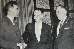 Clarion photo of Eugene McCarthy with Wally Peterson and McCarthy's 1956 challenger, Edward Slettedahl