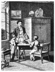 German tutor with children, ca. 1820