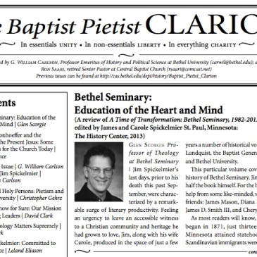 First page of the March 2014 issue of the Baptist Pietist Clarion