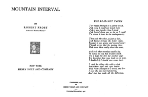 The title page of Frost's 1916 collection, Mountain Interval, with the poem in italics