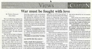 Post-9/11 editorial in Bethel Clarion