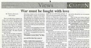 Post-9/11 editorial in Bethel Clarion
