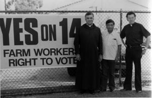 Cesar Chavez with two priests in 1976