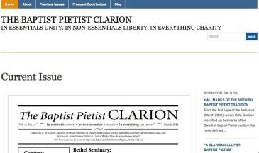 Screen shot of the new Baptist Pietist Clarion website