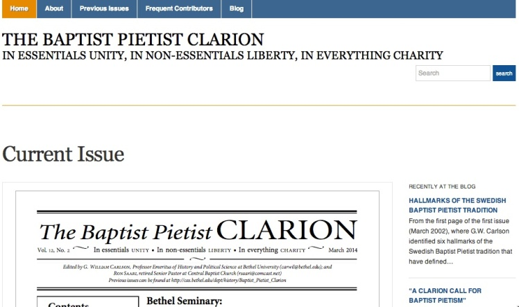 Screen shot of the new Baptist Pietist Clarion website