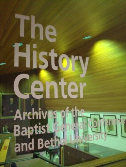 Entrance to The History Center: Archives of the Baptist General Conference and Bethel University