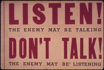 """WWII poster: """"Listen! The enemy may be talking"""""""