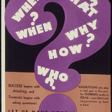 "WWII-era poster asking ""Where, When, Who, What, Why, How?"""