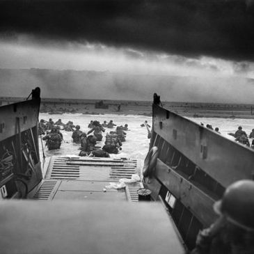 View of Omaha Beach from an American landing craft