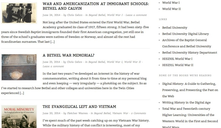 Screenshot of our Bethel at War blog