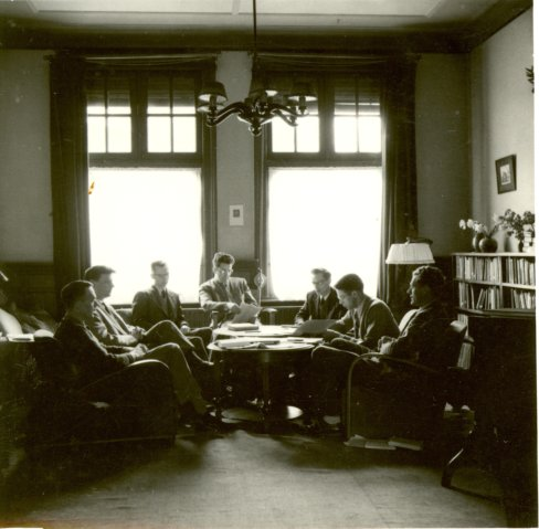 "Yoder in Amsterdam in 1952 with the ""Concern"" circle"