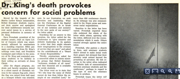 Clarion article on Bethel student reaction to the assassination of Martin Luther King, Jr.